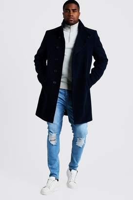 BoohoomanBoohooMAN Mens Navy Big & Tall Funnel Neck Wool Look Overcoat, Navy
