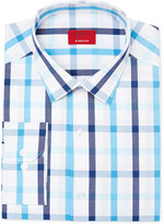 Alfani Men's Slim-Fit Stretch Aqua Blue Check Dress Shirt, Only at Macy's