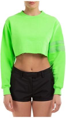 GCDS Crop Faded Fluo Crewneck Sweatshirt