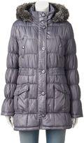 Urban Republic Juniors' Hooded Faux-Fur Puffer Jacket