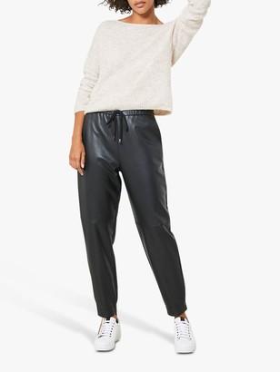 Mint Velvet Slim Leather Joggers, Black