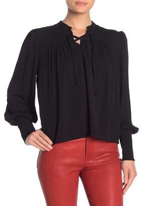 Frame Smocked Sleeve Lace-Up Blouse