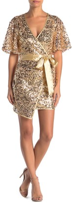 A.Calin Faux Wrap Waist Tie Sequin Dress