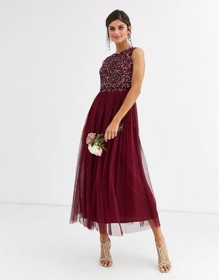 Maya Bridesmaid delicate sequin 2 in 1 midaxi dress in wine-Red