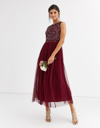 Maya Bridesmaid delicate sequin 2 in 1 midaxi dress in wine