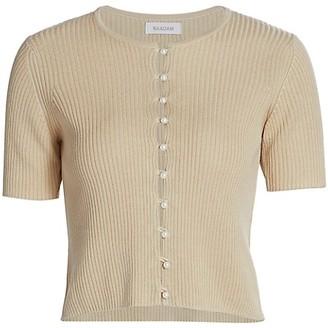 Naadam Ribbed Short Sleeve Cardigan
