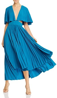 AMUR Dara Pleated Midi Dress with Cutouts