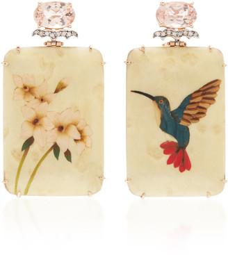 Silvia Furmanovich 18K Rose Gold Marquetry Morganite and Diamond Earrings