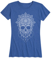 Instant Message Women's Women's Tee Shirts HEATHER - Heather Royal Blue Henna Sugar Skull Relaxed-Fit Tee - Women