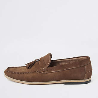 River Island Brown textured suede tassel loafers