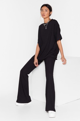 Nasty Gal Womens Together Again Oversized Tee and Trousers Set - Black - 4