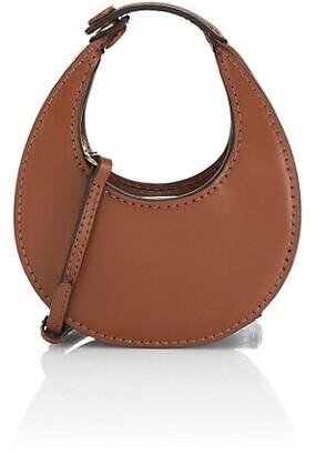 STAUD Micro Moon Leather Hobo Bag