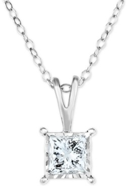 """TruMiracle Diamond Princess 18"""" Pendant Necklace (1/2 ct. t.w.) in 14k White, Yellow, or Rose Gold"""