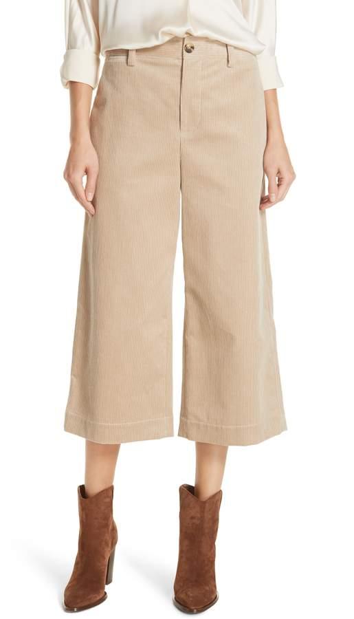 Vince Wide Leg Cotton Corduroy Crop Pants