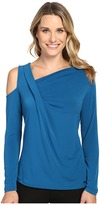 Ivanka Trump Long Sleeve Matte Jersey with Cold Shoulder