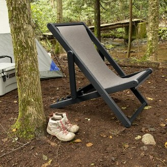 Arabella Reclining/Folding Deck Chair ELK OUTDOORS Frame Color: Abyss