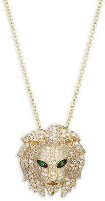 Effy 14K Yellow Gold, Diamond Tsavorite Lion Pendant Necklace