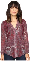 Lucky Brand Contrast Embroidery Blouse