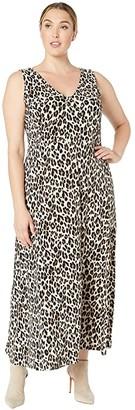 Vince Camuto Specialty Size Plus Size Sleeveless Maxi Elegant Leopard Knit Dress (Rich Black) Women's Dress