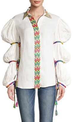 All Things Mochi Statement Sleeve Linen Top