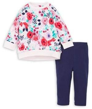 Little Me Baby Girl's 2-Piece Floral Cotton Sweatshirt & Stretch Leggings Set