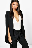 Boohoo Olivia Longline Tailored Crepe Cape black