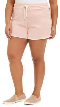 Derek Heart Trendy Plus Size Cotton Colorblocked Drawstring-Waist Shorts