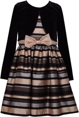 Iris & Ivy Kids' Stripe Satin Dress & Velvet Bolero Set