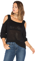 Endless Rose Cut Out Shoulder Long Sleeve Top in Black. - size S (also in )