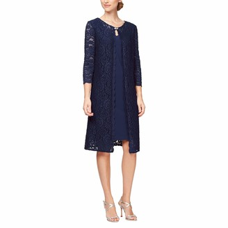 Alex Evenings Women's Plus-Size Short Mock Jacket Dress