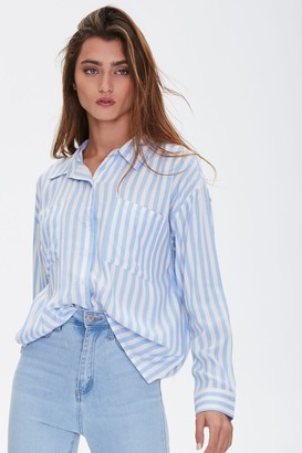 Forever 21 Striped Chest-Pocket Shirt