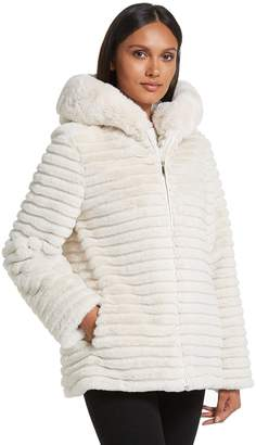 Gallery Women's Hooded Faux-Fur Embossed Jacket