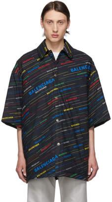 Balenciaga Black Padded Spring Logo Shirt