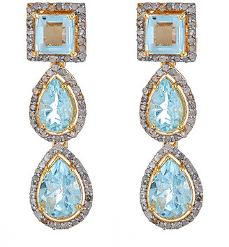 Forever Creations Usa Inc. Forever Creations Gold Over Silver 13.20 Ct. Tw. Diamond & Aquamarine Drop Earrings