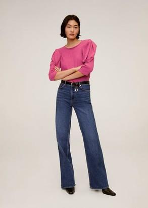 MANGO Puffed sleeves pleated t-shirt fuchsia - XS - Women