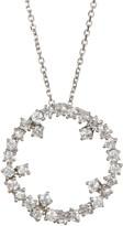 Suzanne Kalan 14K White Gold Burst White Sapphire Pendant Necklace