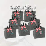 Etsy 5 Personalized Bridesmaid Gift Tote Bags Monogrammed Tote, Bridesmaid Tote, Personalized Tote Weddin