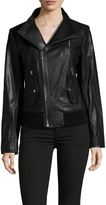 Vince Camuto Leather Stand Collar Jacket