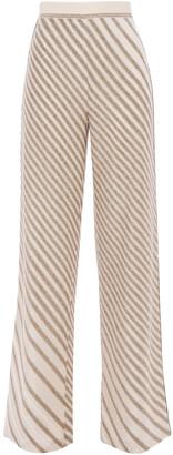 Missoni Metallic Striped Crochet-knit Wide-leg Pants