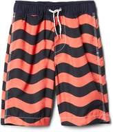 """Gap 8"""" Wave Stripe Swim Trunks"""