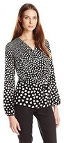 Adrianna Papell Women's Printed Peasant Long Sleeve Top