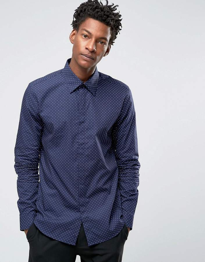 Reiss Slim Smart Shirt In Polka Dot
