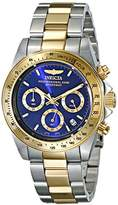 Invicta Men's 3644 Speedway Quartz Watch with Blue Dial Chronograph Display and Gold Stainless Steel Bracelet