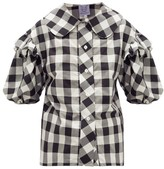 Thierry Colson Vanina Ruffled Checked Cotton-blend Poplin Shirt - Womens - Black White