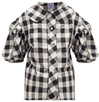 Thierry Colson Vanina Ruffled Checked Cotton-blend Poplin Shirt - Black White