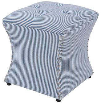 New Pacific Direct Amelia Nailhead Storage Ottoman, Blue stripes