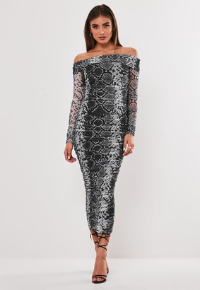 Missguided Jordan Lipscombe X Grey Snake Print Bardot Ruched Mesh Midaxi Dress