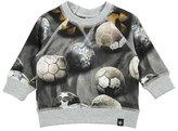 Molo Elmo Soccer Ball Pullover Sweatshirt, Gray, Size 12-24 Months