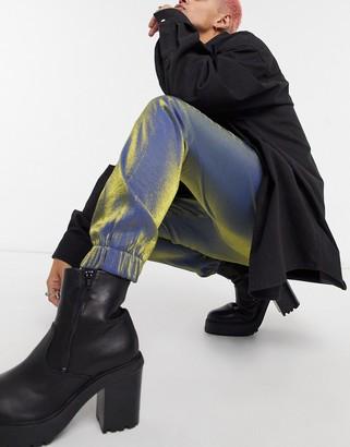 ASOS DESIGN tapered smart jogger pants in blue satin