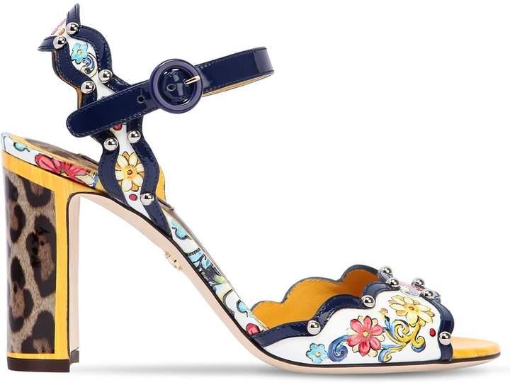 Dolce & Gabbana 90mm Maiolica Patent Leather Sandals